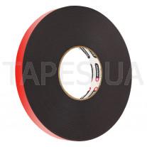 Скотч двусторонний MONTEX SHS 5125 мощный, черный цвет, акриловый, толщина 1,2мм, 80/120С